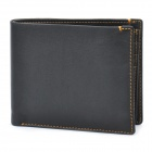 Stylish Cowhide Leather Horizontal Style Folding Wallet Purse - Black