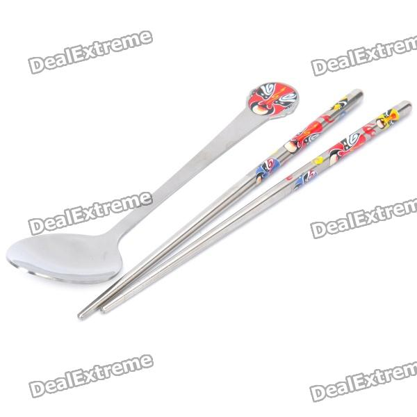 Cool Beijing Opera Facial Masks Style Stainless Steel Spoon + Chopsticks Set