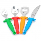 Hollow-out Smiling Face Designed Plastic Handle Knife + Spoon + Fork + Bottle Opener Set