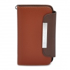 KALAIDENG Protective PU Leather Flip-Open Case for iPhone 4 / 4S - Brown