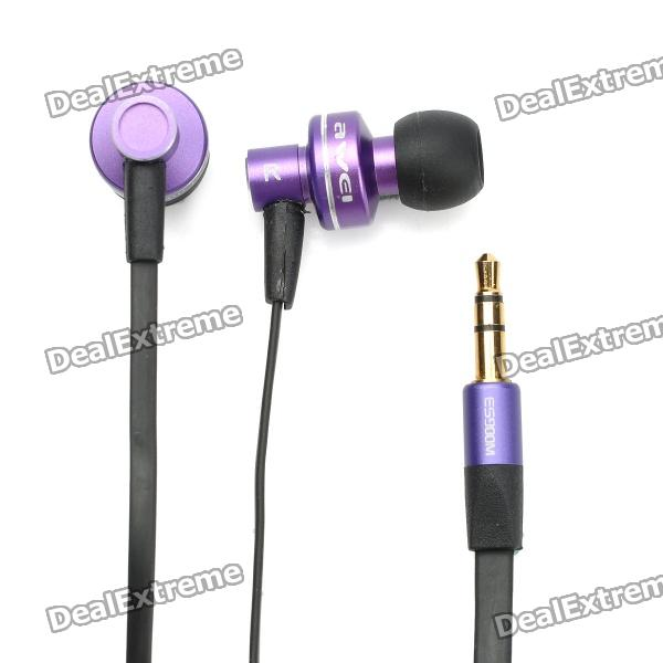 AWEI ES900M In-Ear Earphone w/ Clip for Iphone 4 / 4S - Purple + Black (3.5mm Jack / 120cm-Cable) 20x led illuminated household dedicated handheld office reading magnifier magnifying glass loupe with 10pcs lamps
