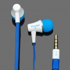 Stylish In-Ear Earphone w/ Microphone for Iphone 4 / 4S - Blue + White (3.5mm Jack / 120cm-Cable)