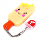 Cute Ice-Lolly Style USB Flash Drive with Chain - Yellow (2GB)