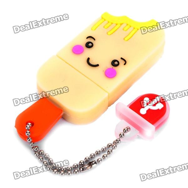 Cute Ice-Lolly Style USB Flash Drive with Chain - Yellow (16GB) от DX.com INT