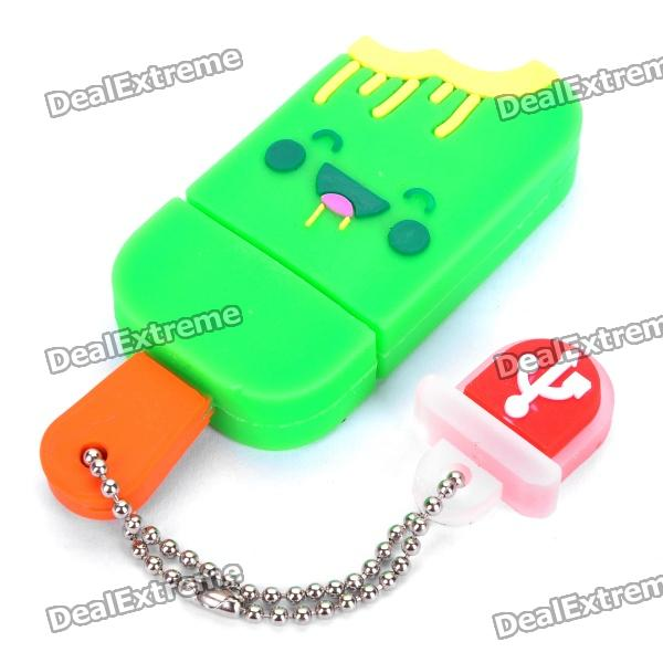 Cute Ice-Lolly Style USB Flash Drive with Chain - Green (4GB) cute ice lolly style usb flash drive with chain yellow 16gb