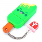 Cute Ice-Lolly Style USB Flash Drive with Chain - Green (8GB)