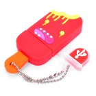 Cute Ice-Lolly Style USB Flash Drive with Chain - Red (2GB)