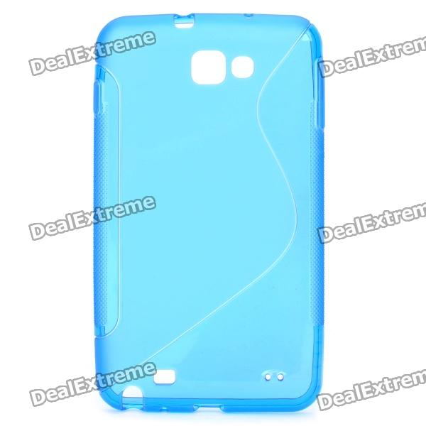 Protective PVC Back Case for GALAXY NOTE/I9220/GT-N7000 - Blue protective leather case screen protectors for samsung galaxy note i9220 gt n7000