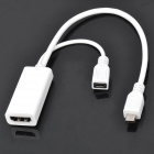 HDMI to Micro USB Male + Female HD Video Converter Cable for Samsung i9250 /i9220 - White