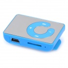 Mirror Rechargeable Clip-On Screen Free MP3 Player w/ TF Slot / 3.5mm Jack - Blue