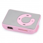 Mirror Rechargeable Clip-On Screen Free MP3 Player w/ TF Slot / 3.5mm Jack - Pink