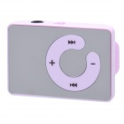 Mirror Rechargeable Clip-On Screen Free MP3 Player w/ TF Slot / 3.5mm Jack - Purple