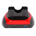 "USB 3.0 HUB + Card Reader + Dual HDD Docking Station for 2.5""/3.5"" SATA HDD - Black + Red"