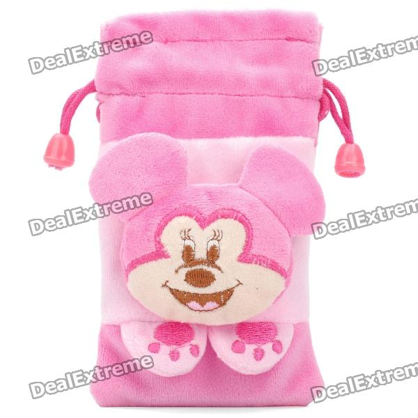 Cute Mickey Doll Shorts Plush Fabric Pouch Bag for iPhone 4 / 4s / iPod Touch - Pink