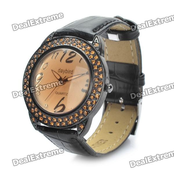 Fashion PU Leather Band Quartz Wrist Watch (1 x LR626) diniho fashion lady s pu leather band round dial quartz waterproof wrist watch black 1 x lr626