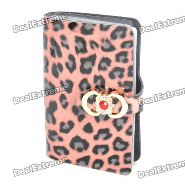 Stylish Leopard PU Leather Card Holder (Holds 24-Pieces) danjue genuine leather men wallets long coin purses big capacity card holder cowhide day clutch phone money bag