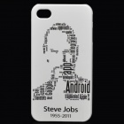 Remembering Steve Jobs Protective PVC Back Case w/ Screen Protector for iPhone 4 / 4s - White