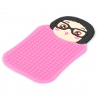 Cute Caicai Girl Pattern Auto Car Anti-Slip Rubber Pad for Phone / MP3 / MP4 - Pink