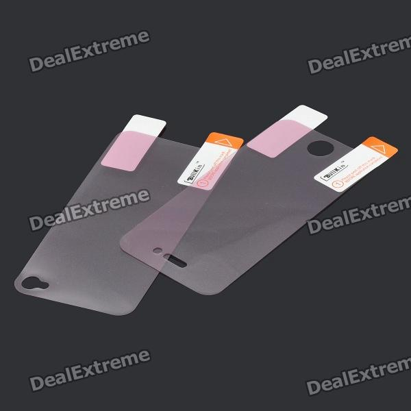 Glossy Screen + Back Protectors Set for iPhone 4s - Transparent Pink