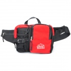 Outdoor Waterproof Nylon Polyester Grid Cloth Waist Bag /Chest Packs - Red + Black
