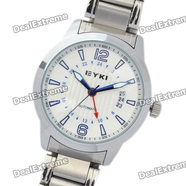 EYKI Fashion Stainless Steel Mechanical Wrist Watch - White + Silver stylish survival glowing in the dark paracord bracelet with stainless steel buckle white
