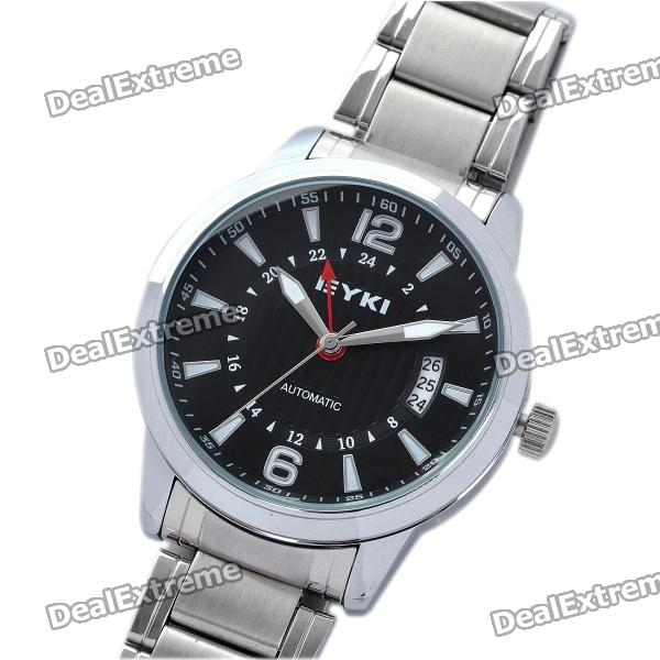 EYKI Fashion Stainless Steel Mechanical Wrist Watch - Black + Silver 1 3 stainless steel ak47 assault rifle display model toy black silver coffee