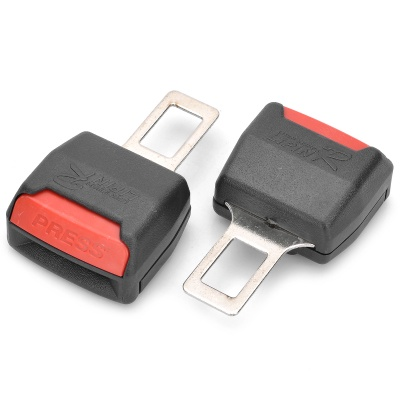Car Seat Belt Extender Extension Buckles - Black + Red (Pair)