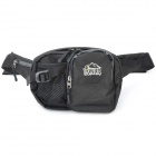 Outdoor Waterproof Nylon Polyester Grid Cloth Waist Bag - Black