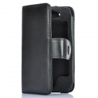 Protective Artificial Leather Flip-Open Case for iPhone 4S - Black
