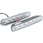 6W 7000K 400-Lumen 6-LED White Light Car Daytime Running Lamps (DC 12V / Paar)