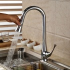 Modern Chromed Copper Pull-Out Sink Faucet Water Tap - Silver