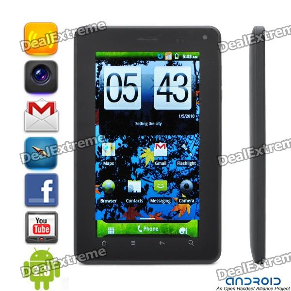 """WG1107 Android 2.3.4 Tablet WCDMA Phone w/ 7"""" Capacitive, Dual SIM, Wi-Fi, GPS, FM and TV - Black"""