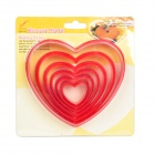 Love Heart Shaped Biscuit Cookie Cutter Mold Set - Red (6 Piece Pack)