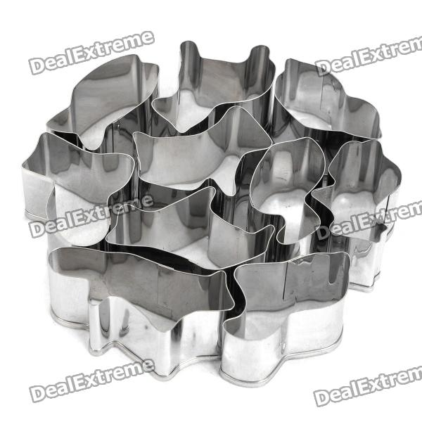 Animals Shaped Biscuit Cookie Cutter Mold Set - Silver (10 Pieces Pack) stainless steel abs chrysanthemum circle shaped spring cookie cutter green silver