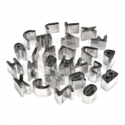 26 English Alphabets Shaped Biscuit Cookie Cutter Mold Set - Silver (26 Pieces Pack)
