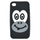 Cute Smiling Monkey Image Pattern Protective Silicone Back Case for iPhone 4 / 4S - Black