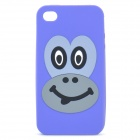 Cute Smiling Monkey Image Pattern Protective Silicone Back Case for iPhone 4 / 4S - Purple