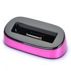 USB Charging Docking Station w/ USB Charging / Data Cable for iPhone 4s - Pink