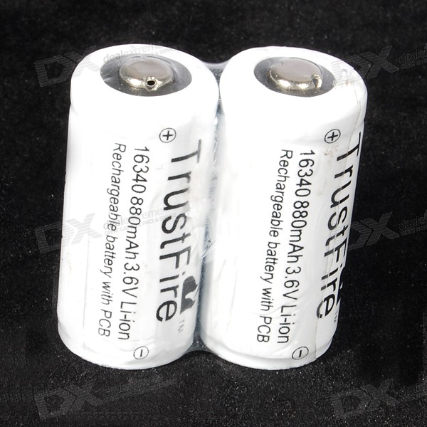 TrustFire Protected 16340 880mAh 3.6V Rechargeable Li-Ion Batteries (2-Pack) trustfire protected 14500 3 7v 900mah rechargeable lithium batteries 2 pack