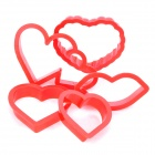 Love Heart / Red Lip Shaped Biscuit Cookie Cutter Mold Set - Red (5 Piece Pack)
