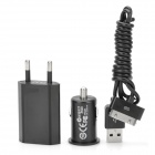 USB AC Charger + Car Charger + Charging Cable Set for iPhone 4s / iPod Touch 4 - Black