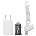 USB AC Charger + Car Charger + Charging Cable Set for iPhone 4s / iPod Touch 4 - White