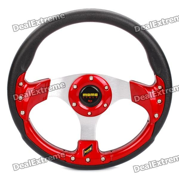 MOMO PU Sport Steering Wheel - Red + Black + Silver 1more super bass headphones black and red