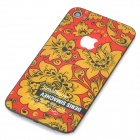 Replacement Flower Pattern Battery Back Cover for iPhone 4 - Red + Yellow