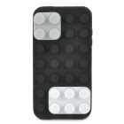 Blocks Style Protective Silicone Back Case for iPhone 4 / 4S - Black + White + Grey