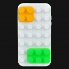 Blocks Style Protective Silicone Back Case for iPhone 4 / 4S - White + Green + Yellow