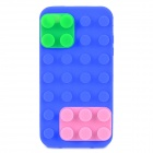 Blocks Style Protective Silicone Back Case for iPhone 4 / 4S - Blue + Pink + Green