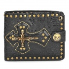 Creative Cross-Shaped PU Leather Folding Wallet - Black