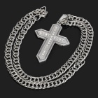 Cross-Shaped Zinc Alloy Rhinestone Pendant Necklace - Silver