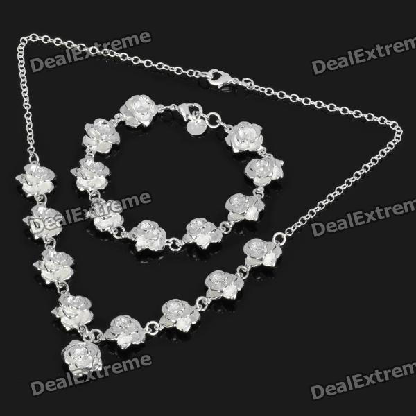 Charming Nine Flower Rose Style Necklace + Bracelet Set - Silver от DX.com INT